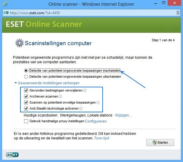 ESET Online Scanner - Instellingen